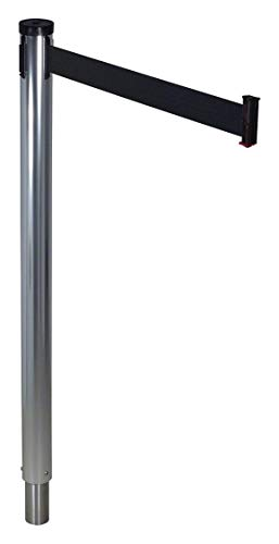 (Retracta-Belt Barrier Post with Belt, 10 ft. L, Black - 300RPA-BK)