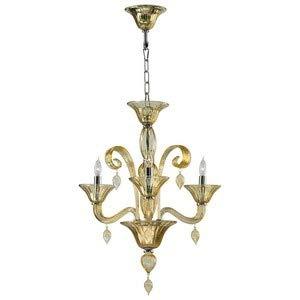Treviso Three Light - Cyan Lighting 6493-3-14 Treviso - Three Light Chandelier, Chrome Finish with Amber Murano Glass with Amber Murano Crystal