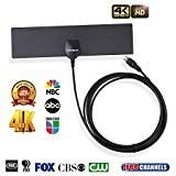 KINGELE Amplifier Ultra Thin Antenna,Signal Booster 10ft Coaxial Cable,Freeview HDTV Channels 4K Ready//ATSC 3.0//VHF//UHF//90 Miles Range Amplified Indoor TV Antenna,Digital HDTV Antenna 2019 Latest
