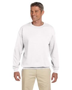 Hanes 90/10 Cotton/Polyester 10.2oz. Ultimate Cotton - Crewneck, Small-White - Heavyweight Fleece Crew Sweatshirt