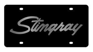 Chevrolet Corvette Stingray License Plate on Black Steel