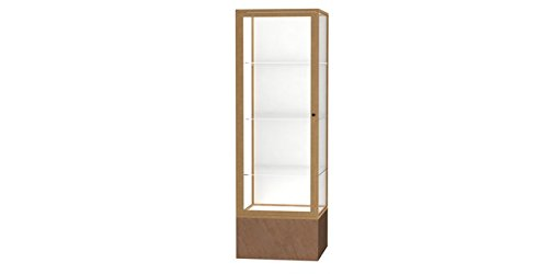 (Monarch Series Floor Display Case Base Color: Beige Stone, Frame Color: Champagne Gold, Case Backing: White Laminate)
