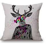 Alphadecor Deer Throw Pillow Case 18 X 18 Inches / 45 By 45 Cm Best Choice For Home Theater,lounge,saloon,lounge,dinning Room With Twice Sides (Happy Halloween Pole Dance)