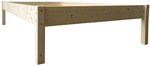 LIEGEWERK Seniorenbett erhöhtes Bett Holz, HÖHE 45cm, Massivholzbett 90 100 120 140 x 200cm hergestellt in BRD (140x200)