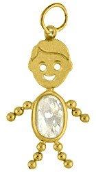 14k Birthstone Boy Charm Gold Face - Face Charm Gold Boy
