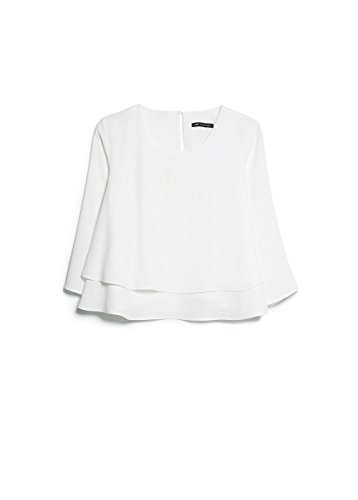 Mango Women's Double-Layer Blouse, Off White, 10