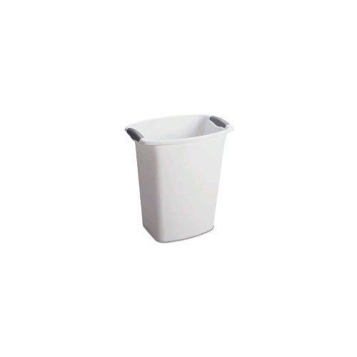 - STERILITE 10358006 White 3 Gallon Wastebasket with Grey Handles