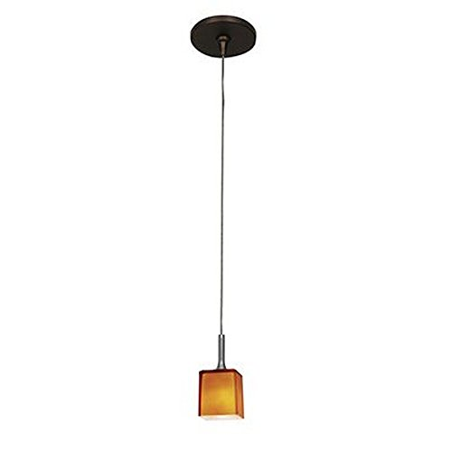 - Access Lighting 96918-BRZ/AMB Omega - One Light Low Voltage Pendant, Bronze Finish with Amber Glass
