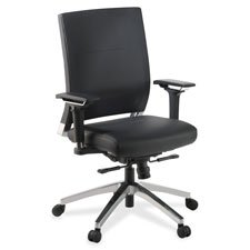 Lorell Executive Swivel Chair, 28-1/2 by 28-1/4 by 43-1/2-Inch, Black Leather