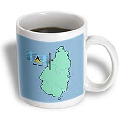 3dRose Flag and Map of The Caribbean Country Saint Lucia Ceramic Mug, 15-Ounce]()