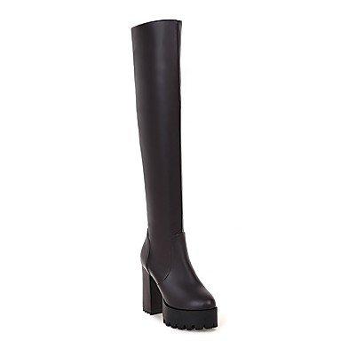 RTRY Zapatos De Mujer Materiales Personalizados Primavera Otoño Moda Puntera Redonda Botas Botas Botas Sobre La Rodilla Por Parte &Amp; Vestido De Noche Negro Marrón US8.5 / EU39 / UK6.5 / CN40