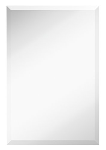 Large Simple Rectangular Streamlined 1 Inch Beveled Wall Mirror | Premium Silver Backed Rectangle Mirrored Glass Panel Vanity, Bedroom, or Bathroom Hangs Horizontal & Vertical Frameless (20W x 30H)