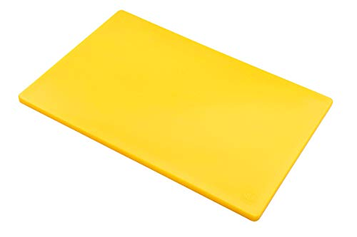 Professional Plastic Yellow Cutting Board, HDPE Poly for Restaurants, Dishwasher Safe and BPA Free (18 x 12 x 0.5 Inch)