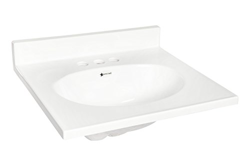 Solid White, Gloss, 17X19, Cultured Marble, Standard, Vanity Top