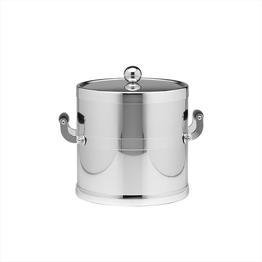 Polished Chrome 3 Qt Ice Bucket W/ Wood Side Handles, Bands & Metal Cover Metal 3 Qt Ice Bucket