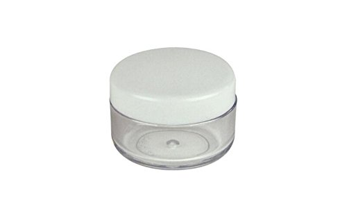 TOPWEL-3-Gram-3g-Refillable-Plastic-Screw-Cap-Lid-with-Clear-Base-Empty-Plastic-Container-Jars-for-Nail-Powder-Bottles-Eye-Shadow-Container-Lot-Powder-Container-Pack-of-50-White