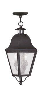 Livex Lighting 2546-07 Amwell - Two Light Outdoor Hanging Lantern, Bronze Finish with Seeded Glass