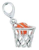Zable Sterling Silver Enamel Basketball Clip-On Bead Charm (11 X 13 mm) (Enamel Basketball Charm)