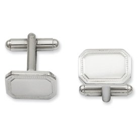 Plated Polished Rectangle Cufflinks (Kelly Waters Solid Gift Boxed Engravable (front only) Rhodium-plated Polished Rectangle Cuff Links)