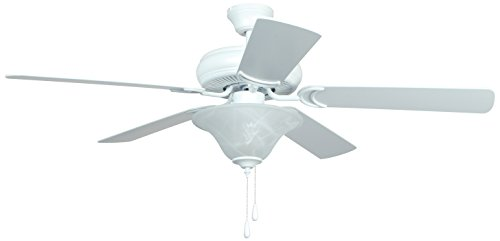 (Ellington DCF52MWW5C1 Decorator's Choice Ceiling Fan with Matte White Blades and Alabaster Glass, 52