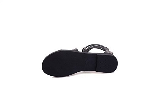 Amoonyfashion Mujer's Open Toe Cremallera Pu Solid-heel Flats-sandals Black