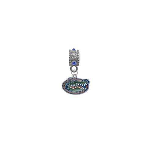 Florida Gators Blue & Clear Rhinestone/Gem Charm with Connector - Universal European Slide On Charm - Classic & Original Style Perfect for Bracelets, Necklaces, DIY Jewelry