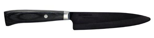 Kyocera Advanced Ceramic LTD Series Utility Knife with Handcrafted Pakka Wood Handle, 5-Inch, Black - Ceramic Handle Knife