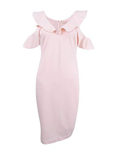 RACHEL Rachel Roy Women's Ruffle Cold Shoulder V-Neck Dress, Cherry Blossom, 4