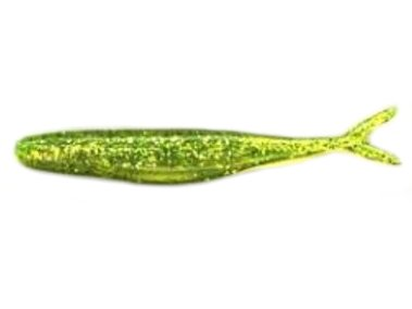 (Bass Assassin STS39452 Split Tail Shad (10 Count), Chartreuse/Silver Glitter, 4