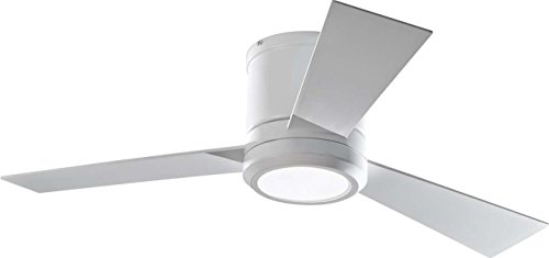 """Monte Carlo 3CLYR42RZWD, Clarity II Flush Mount 42"""" White Ceiling Fan with LED Light and Remote"""