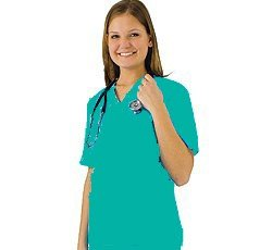 Women's Scrub Set - Medical Scrub Top and Pant, Teal, Medium Cute Natural