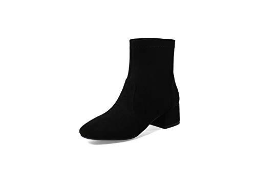Basso Alti Boots Stivaletti Black Women's Tacco Largo Con E Donna Da E6znBwqp