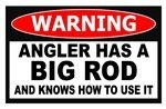 """Angler Has a Big Rod Ice Fishing Funny Warning Sticker Decal 4.25"""" X 2.75"""""""