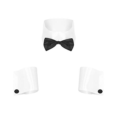 ACSUSS Sexy Men's 3Pcs Butler Waiter Costume Tuxedo Bow Tie Collar Handcuffs Set Outfit White One Size]()
