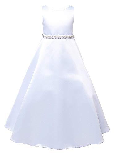 - White Big Girls' Full A-line Satin First Holy Communion Flower Girl Dress White 386 Size 8