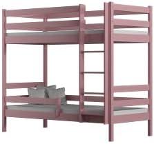 Children's Beds Home - Litera de madera maciza - Theo para niños niños pequeños - Tamaño 180 x 80, color rosa, cajón ninguno, colchón ninguno