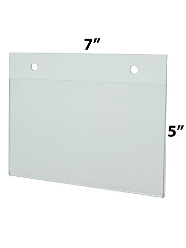Marketing Holders Lot of 24 Clear 7''w x 5''h Clear Wall Mount Ad Frame Sign Holder with Holes by Marketing Holders