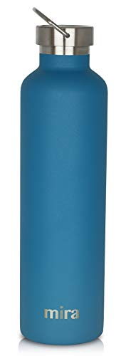 MIRA Insulated Reusable Water Bottle | Alpine Stainless Steel Vacuum Insulated Thermos Flask with 2 Lids | Keeps Water Stay Cold for 24 Hours, Hot for 12 Hours | BPA-Free Cap | Hawaiian Blue | 34 oz (Best Sippy Cup To Transfer From Bottle)