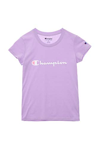 Champion Girls Heritage Short Sleeve Script Logo Tee Shirt Big and Little Girls (Small, Pale Violet -