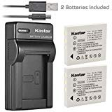 Kastar Battery 2 Pack & Slim USB Charger for Fujifilm NP-40, Panasonic CGA-S004, Kodak KLIC-7005, Samsung SLB-0737, SLB-0837,...