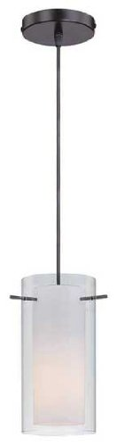 Lite Source LS-19772 Jaden Pendant Lamp, Black with Frost Inner And Clear Outer Glass (Lite Source Glass Lamp)
