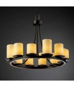 Justice Design Group CNDL-8768-10-CREM-DBRZ Candlearia Collection Dakota 12-Light Ring Chandelier, Short - Candlearia Chandelier