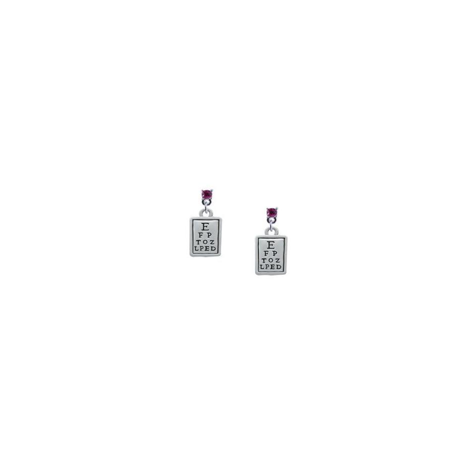 Silver Eye Chart Hot Pink Swarovski Post Charm Earrings [Jewelry] [Jewelry]