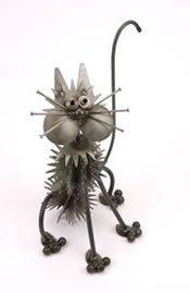 Double Fluffy Junkyard Cat Metal Sculpture