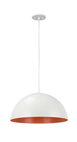 Aspen Creative 61040-1 Adjustable 1 Light Hanging Pendant Ceiling Light, Transitional Design in Matte White Finish, Metal Dome Shade, 17 3/4