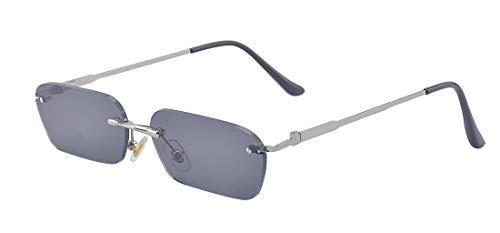 Kelens Bold Small Metal Frame Sunglasses Fashion Designer Rectangle Shades Black ()