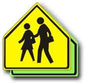 Aluminum Sign: Pentagon School/Pedestrian Zone Crossing, Size=30''x30'', D.G. Reflective on Aluminum by Signs Direct (Image #1)