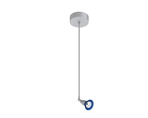 (Prima Lighting 963-00-1122-B-SV-24 Bruford Track Head, Small, Polish Chrome/Blue Glass Shade)
