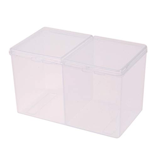Sala-Ctr - Clear Plastic Cotton Swab Storage Box Cosmetic Makeup Removal Cotton Pads Organizer Nail Art Polish Gel Remover Holder Box ()