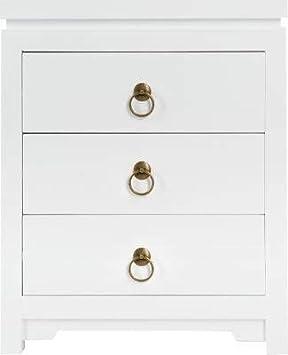 Atmosphera Table de Chevet Blanche 3 Tiroirs H 54.5 cm